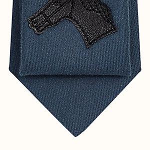 Unie Quadrige leather patch detail tie