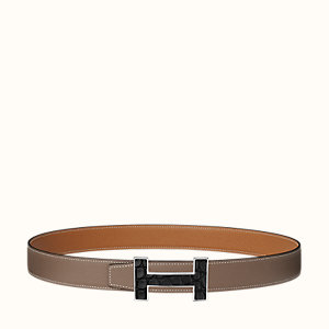 Quizz Marquetee belt buckle & Reversible leather strap 32 mm