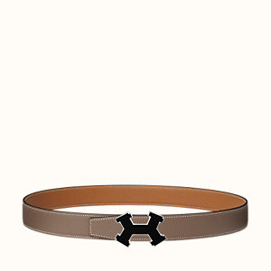 Street H belt buckle & Reversible leather strap 32 mm
