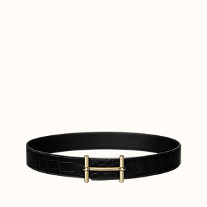 H d'Ancre belt buckle & Leather strap 38 mm