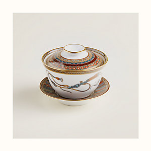 Cheval d'Orient tea cup with lid and saucer, large model