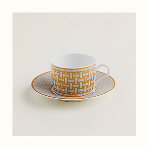 Mosaique au 24 gold tea cup and saucer