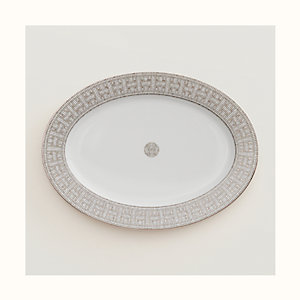 Mosaique au 24 platinum oval platter, small model