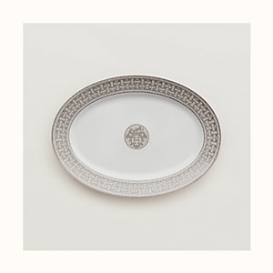 Mosaique au 24 platinum oval platter, large model