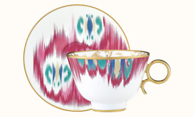 Voyage en Ikat tea cup and saucer