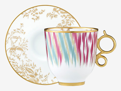 Voyage en Ikat tall cup and saucer -
