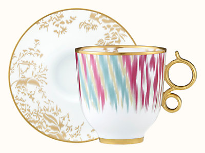 Voyage en Ikat tall cup and saucer