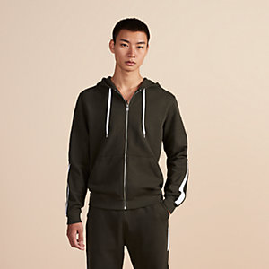 Bicolor zipped hooded jogging sweater