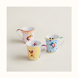 Hermes Circus set of 3 mugs