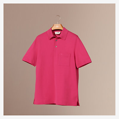 H embroidered buttoned polo shirt -