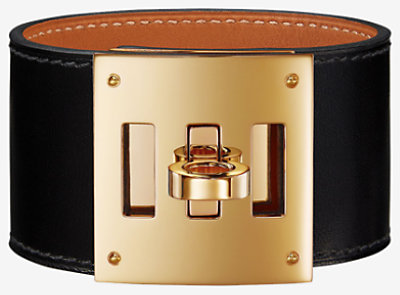 kelly gold hermes leather p black bracelet