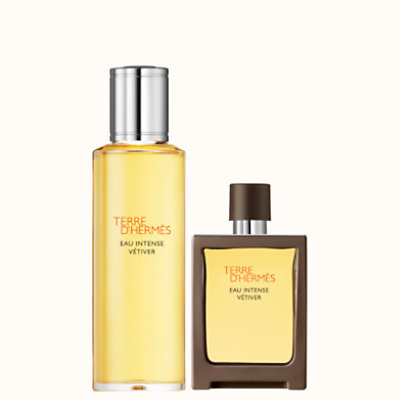 Terre d'Hermes Eau Intense Vetiver Eau de parfum travel spray and refill