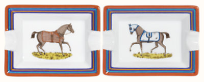 Chevaux a la Couverture set of 2 ashtrays, mini model