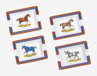 Chevaux a la Couverture set of 4 ashtrays, mini model -