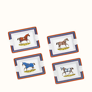 Chevaux a la Couverture set of 4 ashtrays, mini model