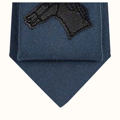 Unie Quadrige leather patch detail tie