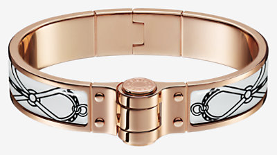 Leather Marins hinged bracelet -