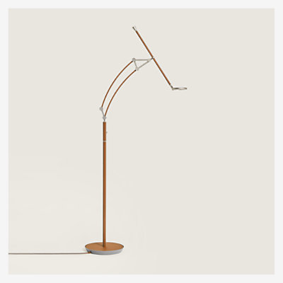 Pantographe reading floor lamp with LED ring -