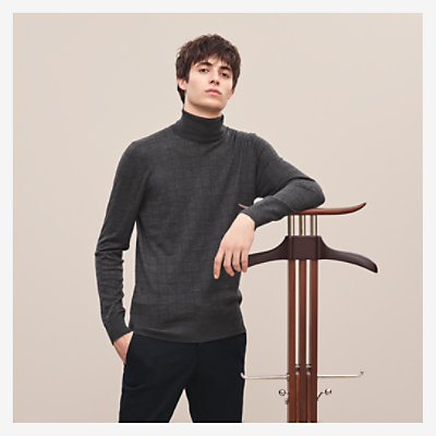 """Carreaux en lignes"" turtleneck sweater -"