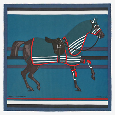 Cheval a la Couverture pocket square 45 -