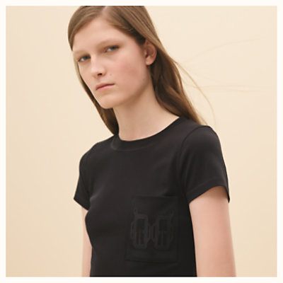 Embroidered pocket micro t-shirt