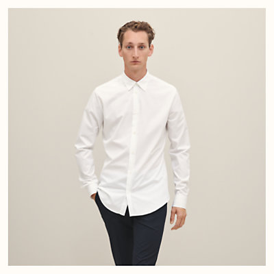 Fitted shirt with double piping