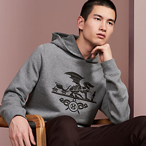 """Ex-Libris Dragon"" hooded sweater with leather patch detail"