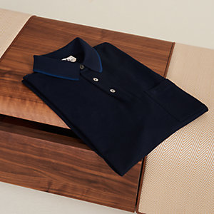 Polo shirt with pocket and striped collar