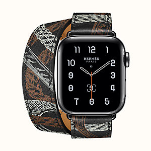 Gehäuse Series 5 Space Black & Armband Apple Watch Hermès Double Tour 40 mm