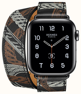 Space Black Series 5 case & Band Apple Watch Hermès Double Tour 40 mm