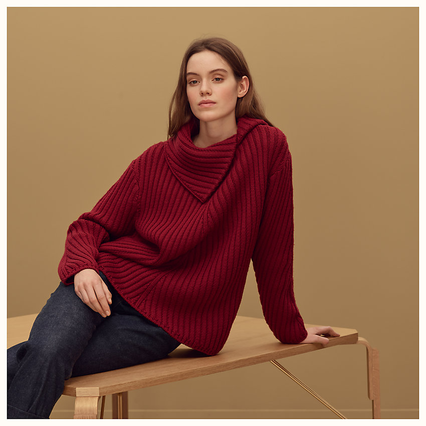 zoom image, Asymmetric neck sweater