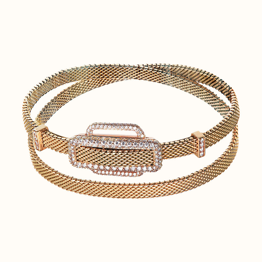 zoom image, Attelage d'Or ribbon double tour bracelet