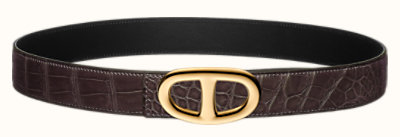 Chaîne d'Ancre belt buckle & Leather strap 32 mm
