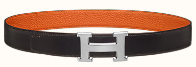 H Strie belt buckle & Reversible leather strap 32 mm