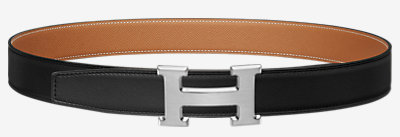 H belt buckle & Reversible leather strap -