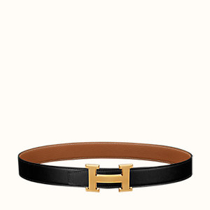 H Guillochee belt buckle & Reversible leather strap 32 mm