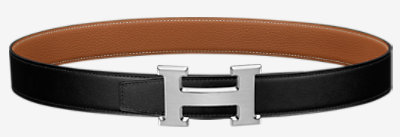 Street H belt buckle & Reversible leather strap 32 mm -