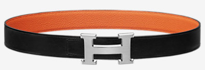 H Guillochee belt buckle & Reversible leather strap 32 mm -