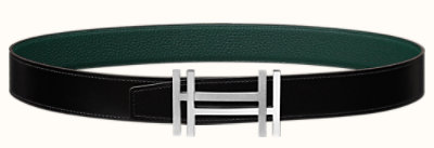 H au Carre belt buckle & Reversible leather strap 32 mm