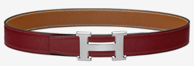 H Strie belt buckle & Reversible leather strap 32 mm -