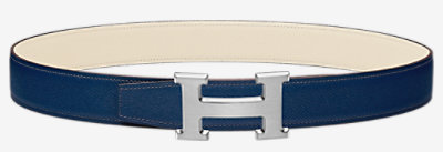 H Striee belt buckle & Reversible leather strap 32 mm -