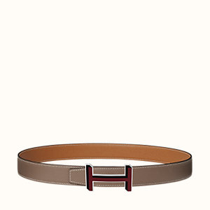 H 3D belt buckle & Reversible leather strap 32 mm