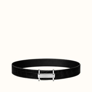 H Stretch belt buckle & Leather strap 38 mm