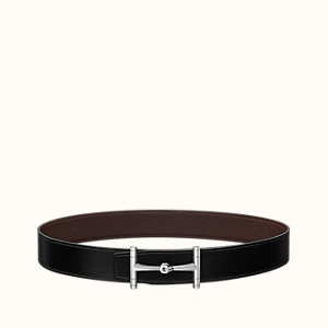 H Hippique belt buckle & Reversible leather strap 38 mm