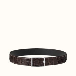Tube H belt buckle & Leather strap 38 mm