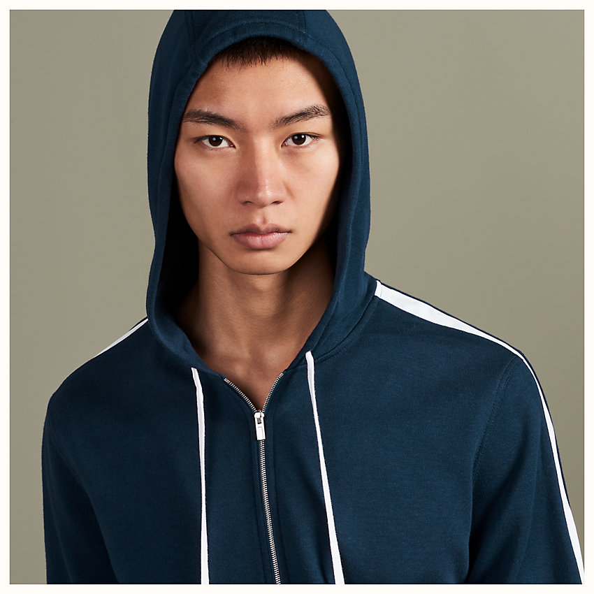 zoom image, Bicolor zipped hooded jogging sweater