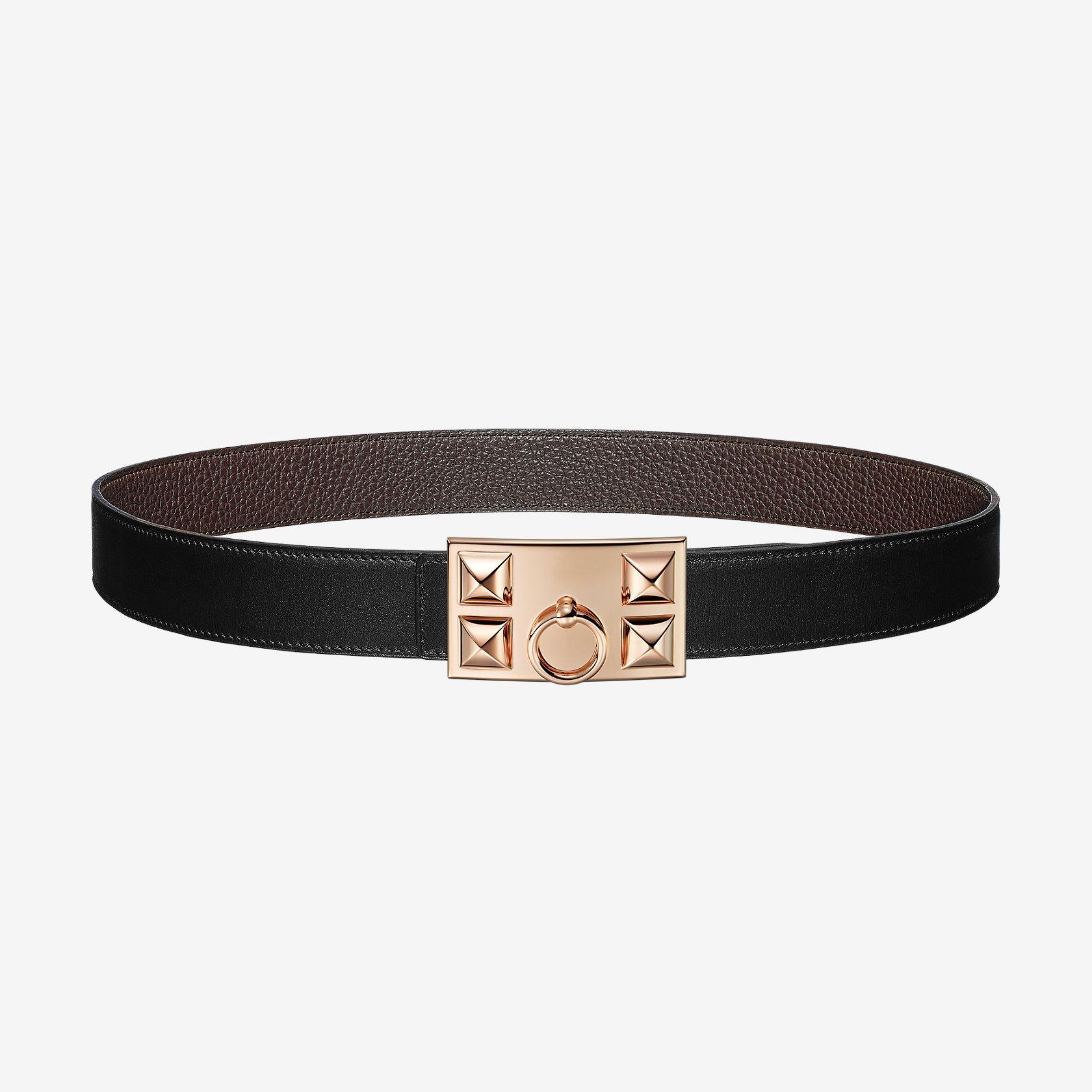 b86d35657e Boucle de ceinture Collier de Chien & Cuir de ceinture réversible 32 mm |  Hermès