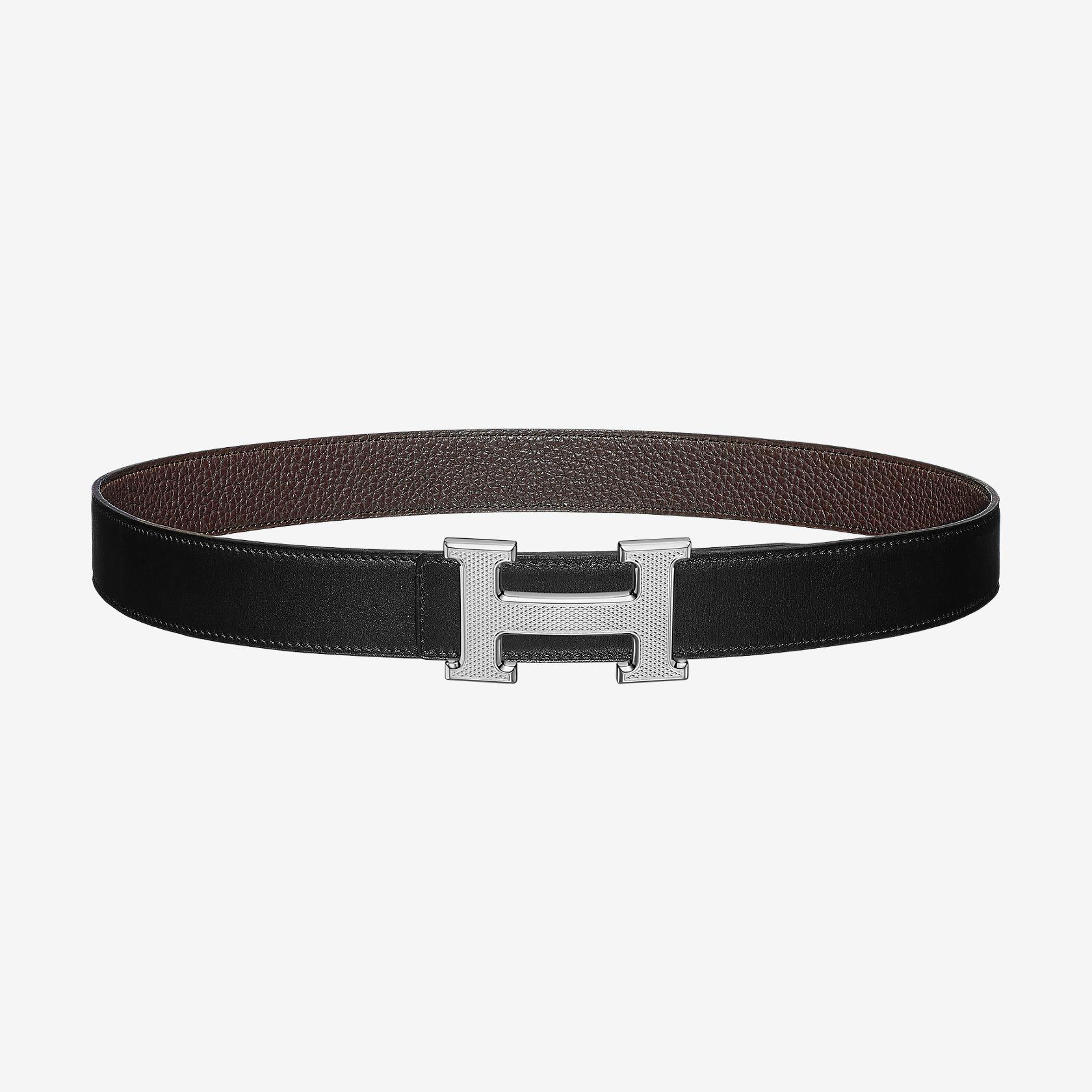 72aa21f39baa Boucle de ceinture H Guillochée   Cuir de ceinture réversible 32 mm   Hermès