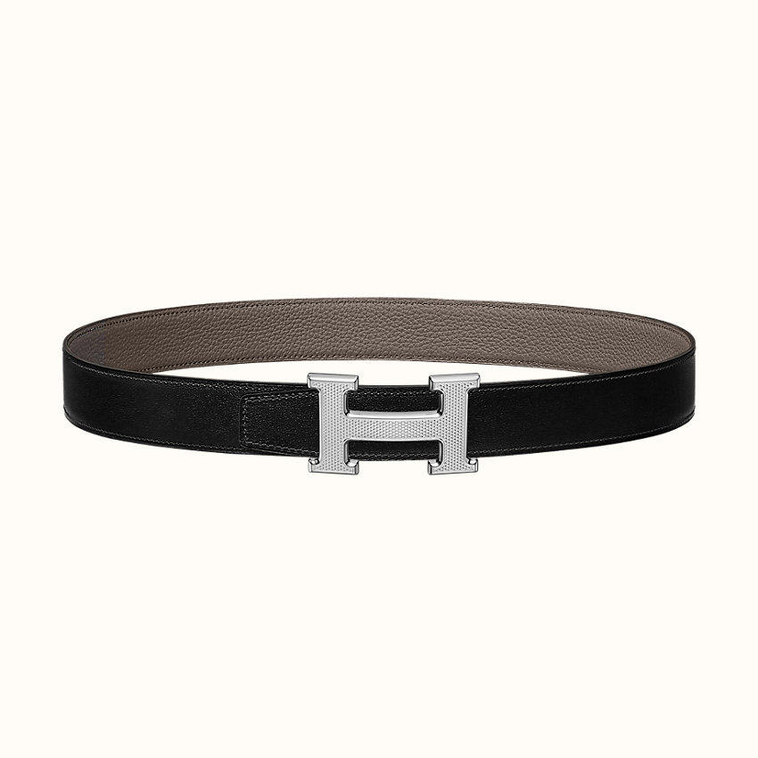 zoom image, Boucle de ceinture H Guillochée & Cuir de ceinture réversible 32mm