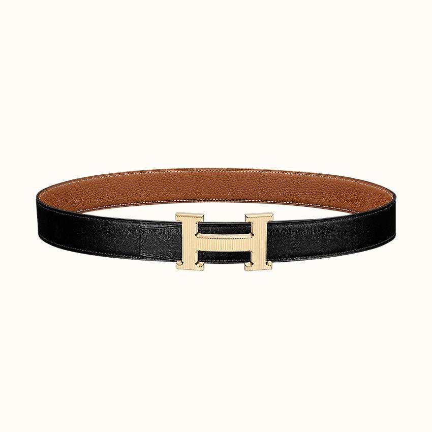 zoom image, Boucle de ceinture H Strié & Cuir de ceinture réversible 32mm